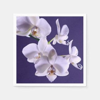 Flor blanca de la orquídea servilletas de papel
