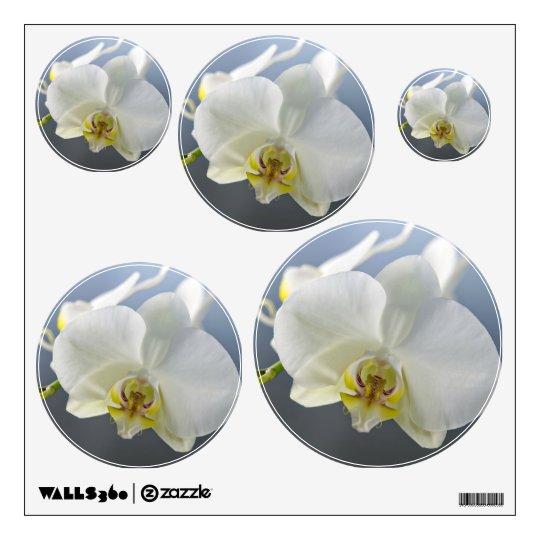 Flor blanca de la orquídea vinilo adhesivo