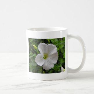 flor blanca de la petunia taza básica blanca