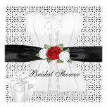 Flor blanca de los rosas rojos del corsé del negro comunicado
