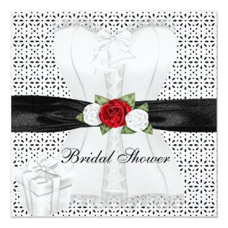 """Flor blanca de los rosas rojos del corsé del negro invitación 5.25"""" x 5.25"""""""