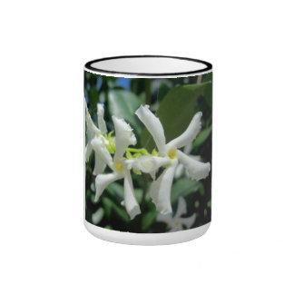 Flor blanca de los tubos del jazmín taza de dos colores