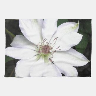 Flor blanca del Clematis Toallas