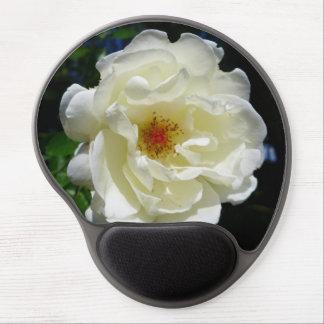 Flor blanca del cojín de ratón alfombrillas de raton con gel