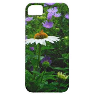 Flor blanca del cono, flores púrpuras y polilla iPhone 5 Case-Mate fundas