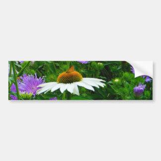Flor blanca del cono, flores púrpuras y polilla pegatina para auto