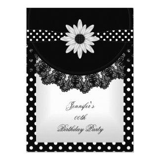 """Flor blanca del cordón del negro elegante del invitación 6.5"""" x 8.75"""""""