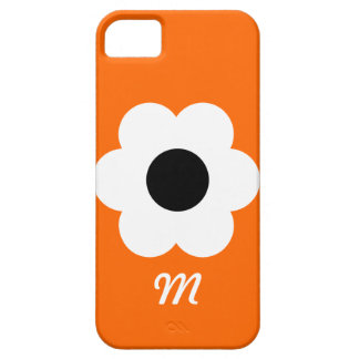 Flor blanca del monograma - naranja iPhone 5 carcasa