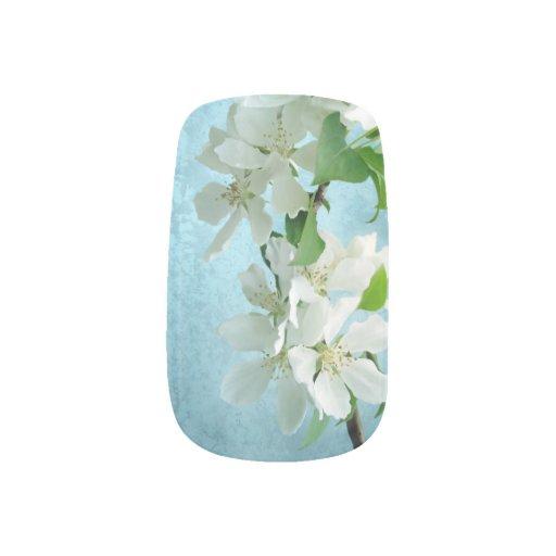Flor blanca en clavos del dedo de la moda del stickers para manicura