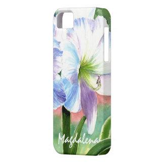 Flor blanca gigante con puntos culminantes iPhone 5 fundas