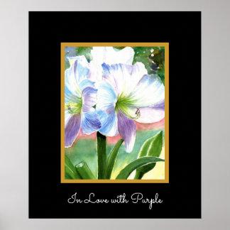 Flor blanca gigante con puntos culminantes póster