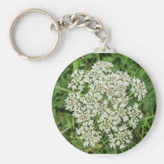 Flor blanca inglesa llavero redondo tipo pin