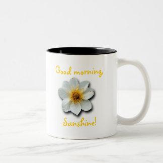 Flor blanca minúscula taza de dos tonos