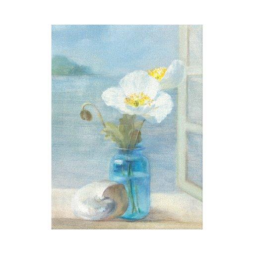 Flor blanca que pasa por alto el mar lienzo envuelto para galerias