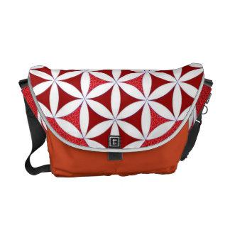 Flor blanca roja de la bolsa de mensajero del carr bolsa de mensajeria