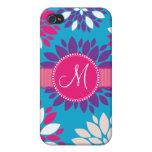 Flor blanca rosada púrpura del monograma de encarg iPhone 4 cobertura