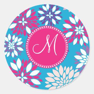 Flor blanca rosada púrpura del monograma de etiquetas redondas