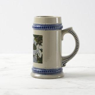 Flor blanca jarra de cerveza
