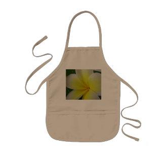 Flor blanca y amarilla del Frangipani Delantales