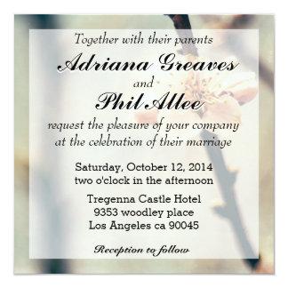 """Flor blanco, árbol floreciente en primavera invitación 5.25"""" x 5.25"""""""