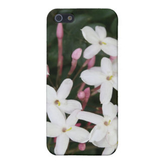 Flor blanco delicado del jazmín con Backgrou verde iPhone 5 Funda