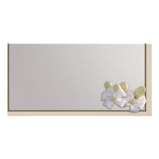 Flor blanco tarjeta personal con foto