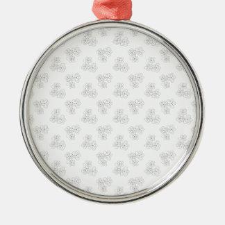 Flor blanco y negro adorno navideño redondo de metal