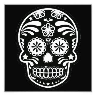 Flor blanco y negro del cráneo del azúcar cojinete
