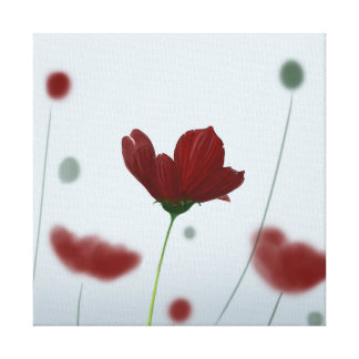 Flor bonita de color rojo oscuro impresión en lienzo estirada