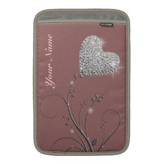 flor bonita de la joya del corazón funda  MacBook