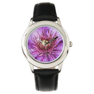 Flor bonita del Clematis púrpura Reloj De Mano