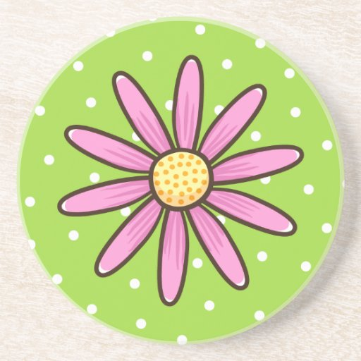 Flor bonita rosada en fondo verde del lunar posavasos manualidades