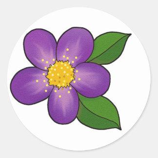 Flor bonito - púrpura pegatina redonda