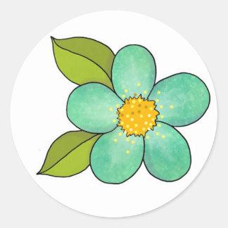 Flor bonito - verde pegatina redonda