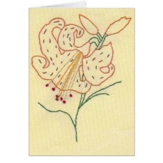 Flor bordada del lirio tigrado tarjeta de felicitación