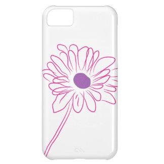 Flor bosquejada púrpura funda para iPhone 5C