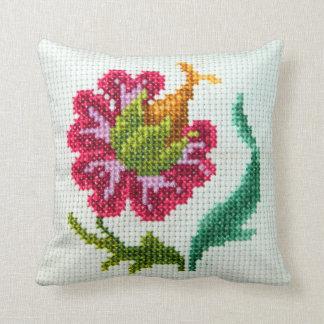 Flor brillante bordada mano 3 almohada