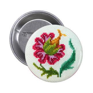 Flor brillante bordada mano 3 pin redondo de 2 pulgadas