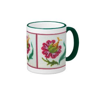 Flor brillante bordada mano 3 taza a dos colores