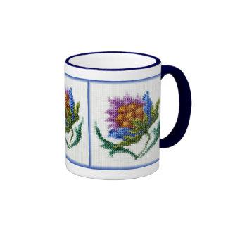 Flor brillante bordada mano taza a dos colores