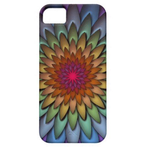 Flor brillante hermosa del arco iris iPhone 5 funda