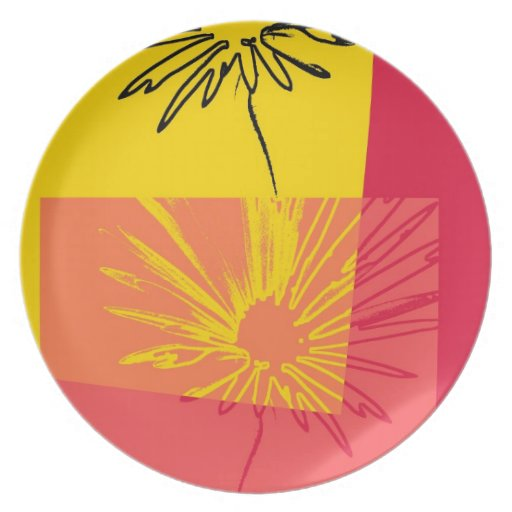 Flor c.1982 #3 - placa de la margarita de la bella platos para fiestas