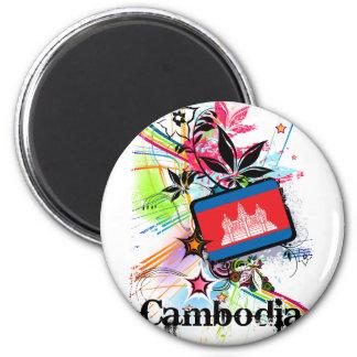 Flor Camboya Imán Redondo 5 Cm