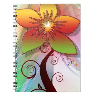Flor caprichosa bonita libreta espiral