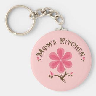 Flor caprichosa de la cocina de la mamá llaveros personalizados