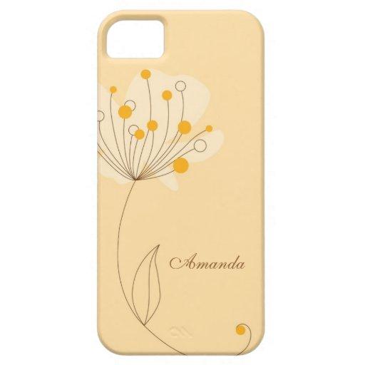 Flor caprichosa en amarillo iPhone 5 funda