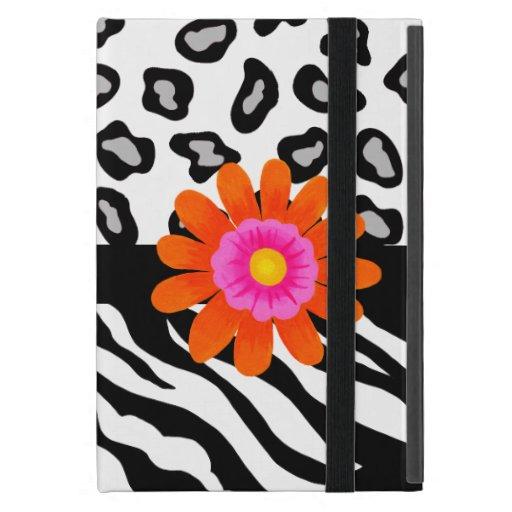 Flor cebra y de la piel y del naranja negros y bla iPad mini carcasas