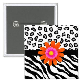 Flor cebra y de la piel y del naranja negros y pin cuadrada 5 cm