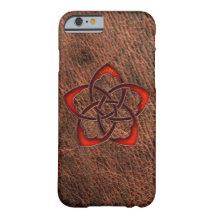 Flor céltica anaranjada del nudo en el cuero funda de iPhone 6 barely there