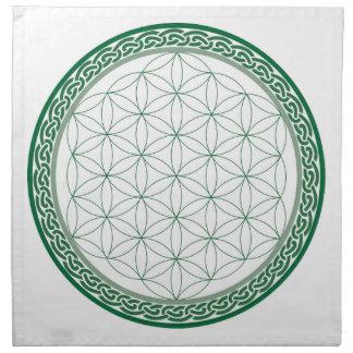 Flor céltica de la rejilla del cristal de la servilletas